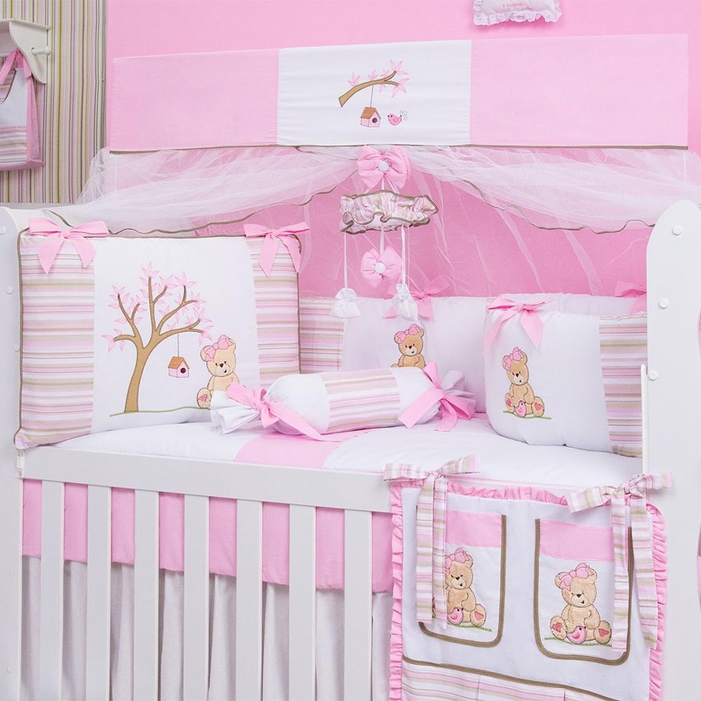 Kit Berço Ursa Passarinho em branco e rosa com tecidos de algodão