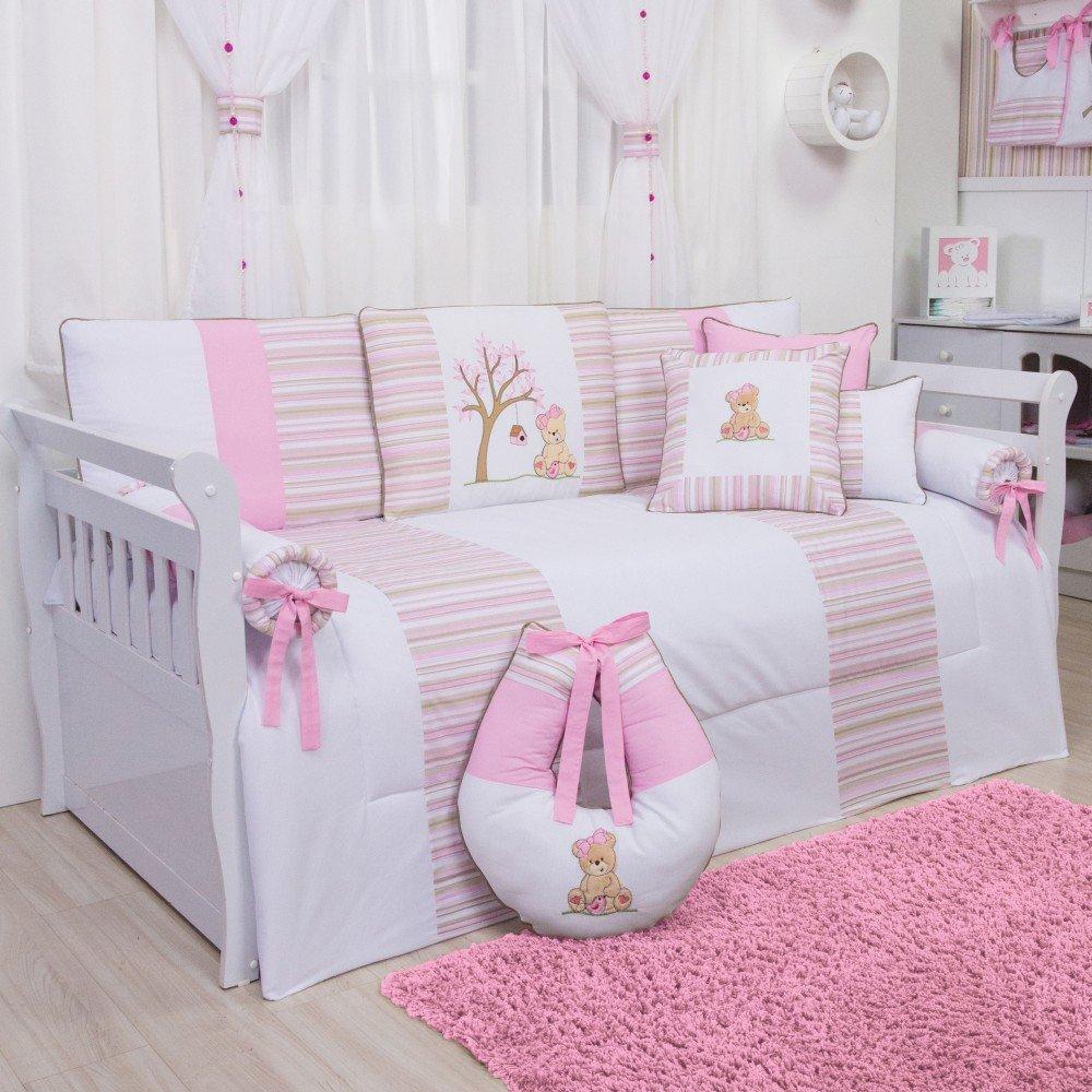 kit cama babá ursa passarinho com seis peças branco e rosa