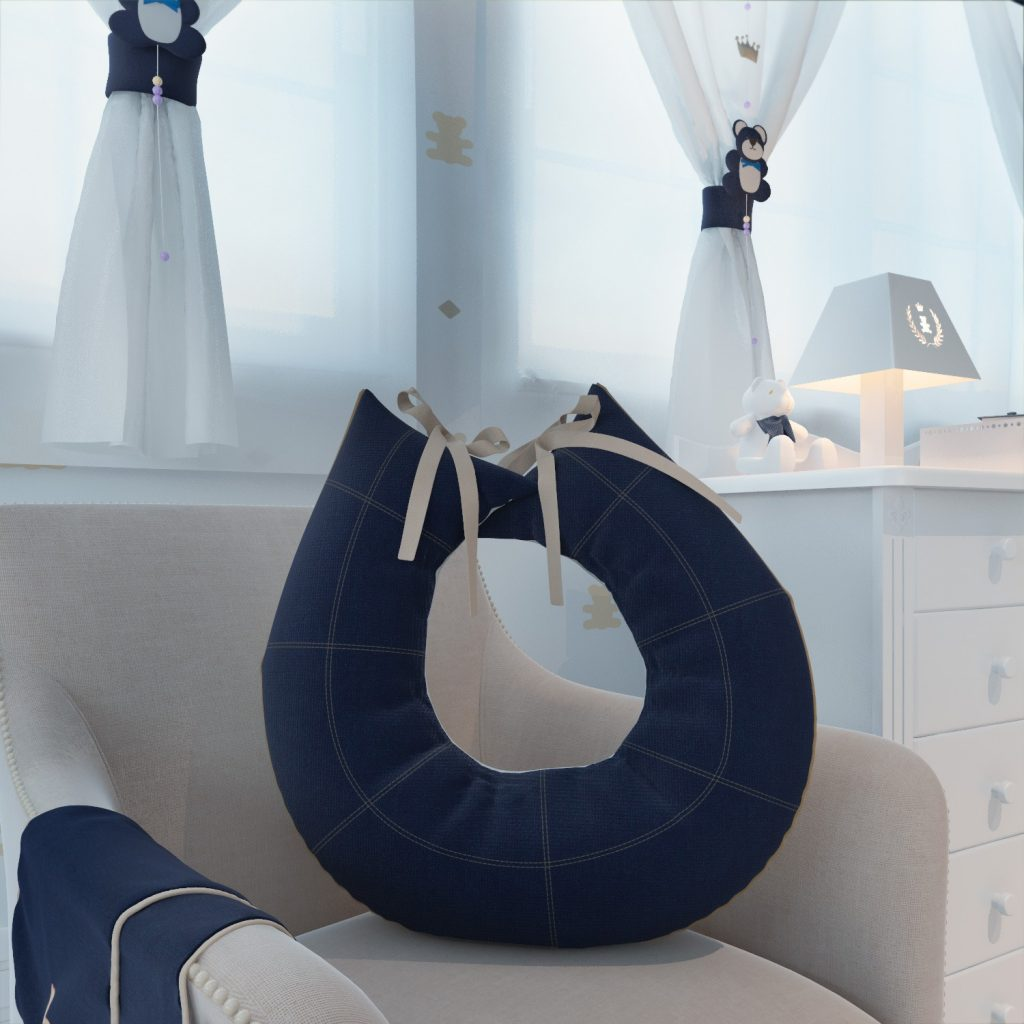 quarto de bebê - cortina e almofada amamentação