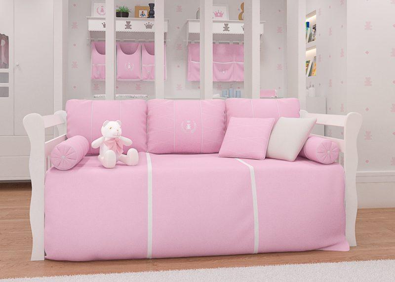 quarto de bebê Realeza Rosa Premium - kit cama babá