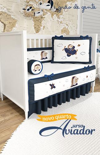 Novo quarto de bebê Urso Aviador - Grão de Gente