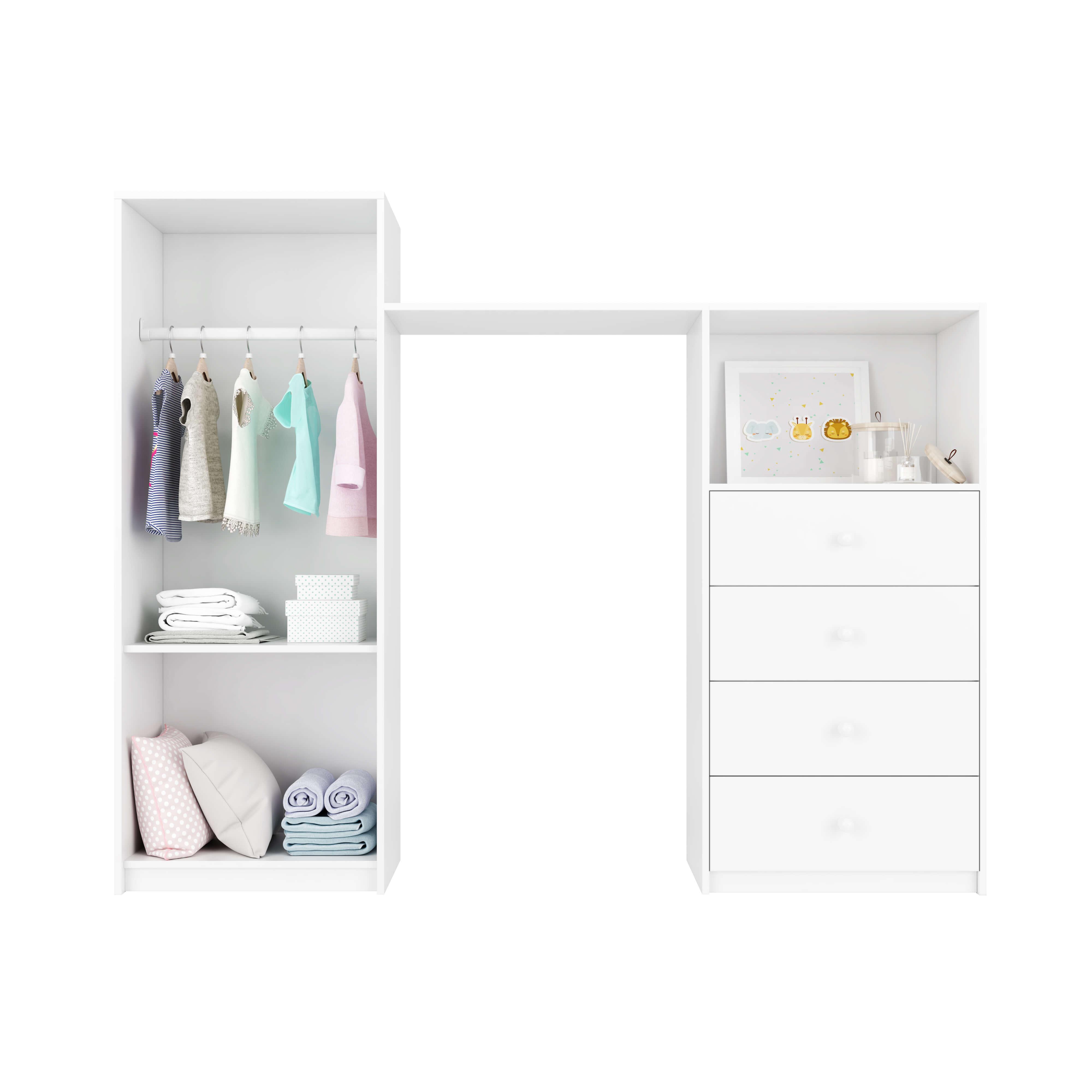 Divisão do espaço interno ideal para guardar as coisinhas do bebê.